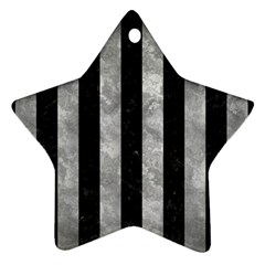Stripes1 Black Marble & Gray Metal 2 Star Ornament (two Sides)