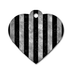 Stripes1 Black Marble & Gray Metal 2 Dog Tag Heart (one Side)