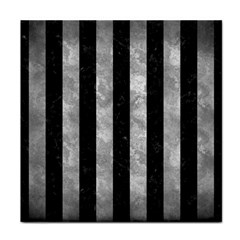 Stripes1 Black Marble & Gray Metal 2 Face Towel