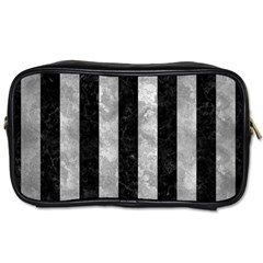Stripes1 Black Marble & Gray Metal 2 Toiletries Bags