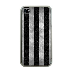 Stripes1 Black Marble & Gray Metal 2 Apple Iphone 4 Case (clear)