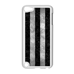 Stripes1 Black Marble & Gray Metal 2 Apple Ipod Touch 5 Case (white)