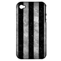 Stripes1 Black Marble & Gray Metal 2 Apple Iphone 4/4s Hardshell Case (pc+silicone)