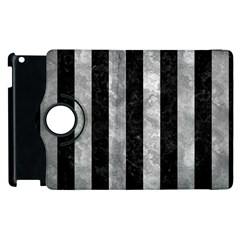 Stripes1 Black Marble & Gray Metal 2 Apple Ipad 3/4 Flip 360 Case