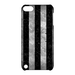 Stripes1 Black Marble & Gray Metal 2 Apple Ipod Touch 5 Hardshell Case With Stand