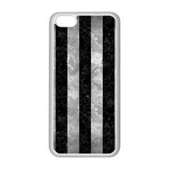 Stripes1 Black Marble & Gray Metal 2 Apple Iphone 5c Seamless Case (white)
