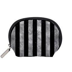 Stripes1 Black Marble & Gray Metal 2 Accessory Pouches (small)
