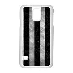 Stripes1 Black Marble & Gray Metal 2 Samsung Galaxy S5 Case (white)