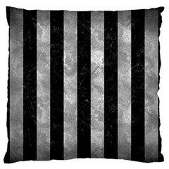 Stripes1 Black Marble & Gray Metal 2 Large Flano Cushion Case (two Sides)