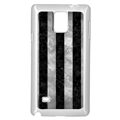 Stripes1 Black Marble & Gray Metal 2 Samsung Galaxy Note 4 Case (white)