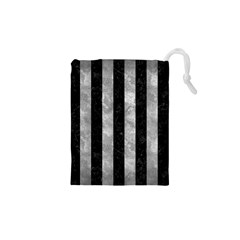 Stripes1 Black Marble & Gray Metal 2 Drawstring Pouches (xs)