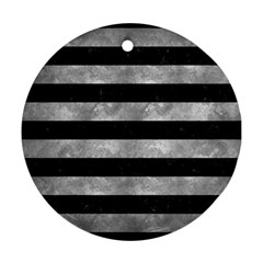 Stripes2 Black Marble & Gray Metal 2 Ornament (round)