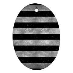 Stripes2 Black Marble & Gray Metal 2 Ornament (oval)