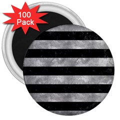 Stripes2 Black Marble & Gray Metal 2 3  Magnets (100 Pack)