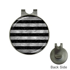 Stripes2 Black Marble & Gray Metal 2 Hat Clips With Golf Markers