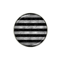 Stripes2 Black Marble & Gray Metal 2 Hat Clip Ball Marker (10 Pack)