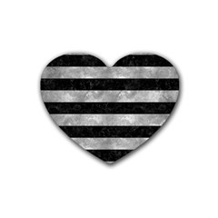 Stripes2 Black Marble & Gray Metal 2 Heart Coaster (4 Pack)