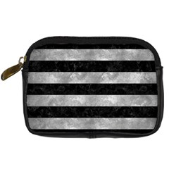 Stripes2 Black Marble & Gray Metal 2 Digital Camera Cases