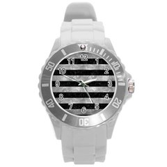Stripes2 Black Marble & Gray Metal 2 Round Plastic Sport Watch (l)