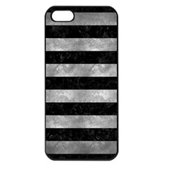Stripes2 Black Marble & Gray Metal 2 Apple Iphone 5 Seamless Case (black)