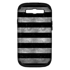Stripes2 Black Marble & Gray Metal 2 Samsung Galaxy S Iii Hardshell Case (pc+silicone)