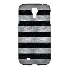 Stripes2 Black Marble & Gray Metal 2 Samsung Galaxy S4 I9500/i9505 Hardshell Case