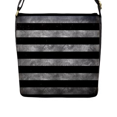 Stripes2 Black Marble & Gray Metal 2 Flap Messenger Bag (l)