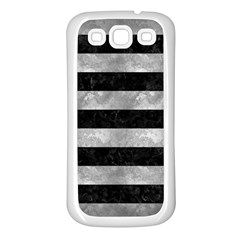 Stripes2 Black Marble & Gray Metal 2 Samsung Galaxy S3 Back Case (white)