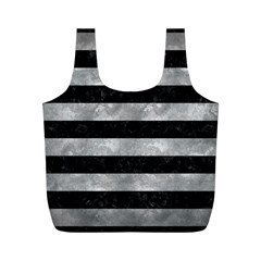 Stripes2 Black Marble & Gray Metal 2 Full Print Recycle Bags (m)