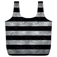 Stripes2 Black Marble & Gray Metal 2 Full Print Recycle Bags (l)
