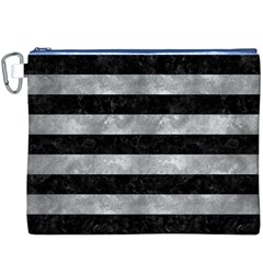Stripes2 Black Marble & Gray Metal 2 Canvas Cosmetic Bag (xxxl)