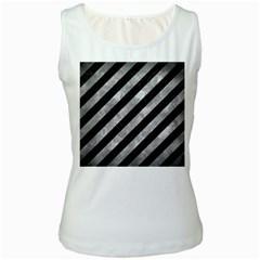 Stripes3 Black Marble & Gray Metal 2 Women s White Tank Top