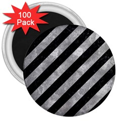Stripes3 Black Marble & Gray Metal 2 3  Magnets (100 Pack)