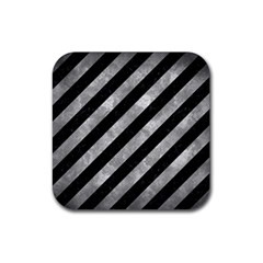 Stripes3 Black Marble & Gray Metal 2 Rubber Coaster (square)