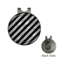 Stripes3 Black Marble & Gray Metal 2 Hat Clips With Golf Markers