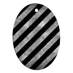 Stripes3 Black Marble & Gray Metal 2 Oval Ornament (two Sides)