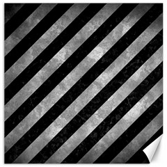 Stripes3 Black Marble & Gray Metal 2 Canvas 12  X 12