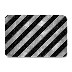 Stripes3 Black Marble & Gray Metal 2 Plate Mats