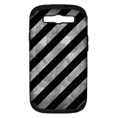 Stripes3 Black Marble & Gray Metal 2 Samsung Galaxy S Iii Hardshell Case (pc+silicone)