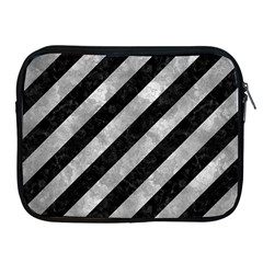 Stripes3 Black Marble & Gray Metal 2 Apple Ipad 2/3/4 Zipper Cases