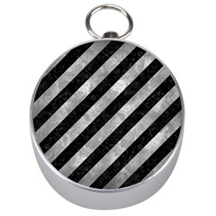Stripes3 Black Marble & Gray Metal 2 Silver Compasses