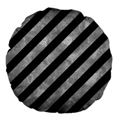 Stripes3 Black Marble & Gray Metal 2 Large 18  Premium Flano Round Cushions