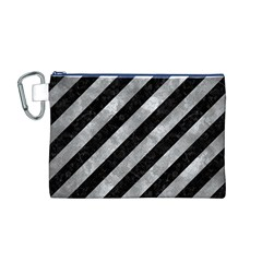 Stripes3 Black Marble & Gray Metal 2 Canvas Cosmetic Bag (m)