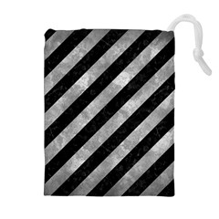 Stripes3 Black Marble & Gray Metal 2 Drawstring Pouches (extra Large)