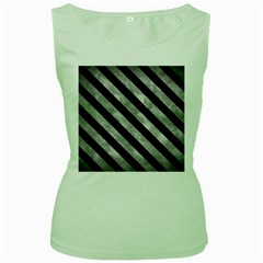 Stripes3 Black Marble & Gray Metal 2 (r) Women s Green Tank Top