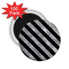 Stripes3 Black Marble & Gray Metal 2 (r) 2 25  Magnets (100 Pack)
