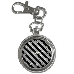 Stripes3 Black Marble & Gray Metal 2 (r) Key Chain Watches