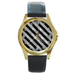 Stripes3 Black Marble & Gray Metal 2 (r) Round Gold Metal Watch