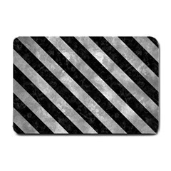 Stripes3 Black Marble & Gray Metal 2 (r) Small Doormat