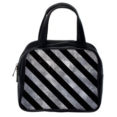 Stripes3 Black Marble & Gray Metal 2 (r) Classic Handbags (one Side)